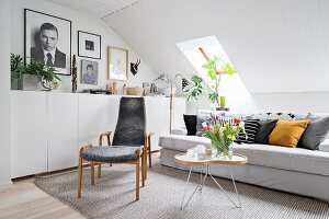 Gallery of pictures and photos above white sideboard in comfortable attic living room
