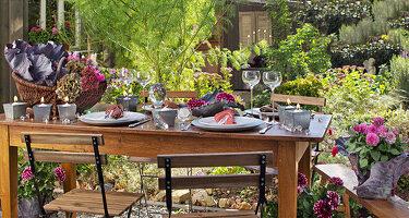 Gedeckter Tisch im herbstlichen Garten, dekoriert mit Rotkohl, Hortensienblüten, Astern und Dahlien