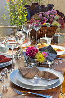 Set table decorated with red cabbage, asters and dahlias in autumnal garden
