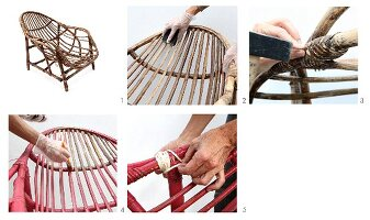 Instructions for revamping an old rattan armchair with fresh paint