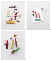 Instructions for decorating clothes pegs with gletter and figurines