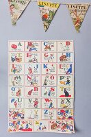 Colourful vintage alphabet poster and bunting
