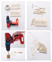 Instructions for making a trivet from clothes pegs