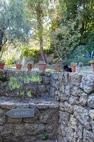 Potted plants on top of stone wall and entrance sign