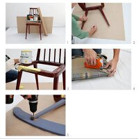 Instructions for converting a retro wooden chair into a rocking chair