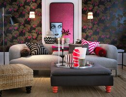 Upholstered furniture, dark floral wallpaper and portrait of woman in living room