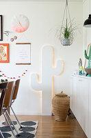 Backlit cactus silhouette
