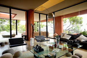 Modern furniture and felt boulders in living room with glass walls