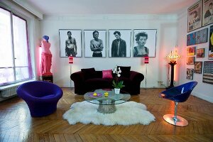 Pop-art style and herringbone parquet floor in colourful living room of period apartment