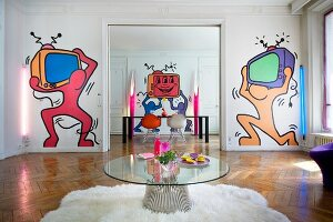 Pop-art murals on walls of period apartment