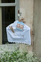 White vintage-style peg bag on coathanger