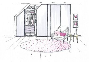 Illustration of a classic built-in wardrobe