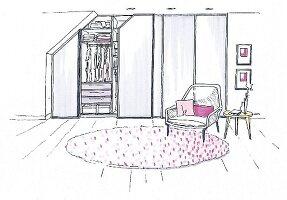 Illustration: Klassischer Wandschrank als Kleiderschrank