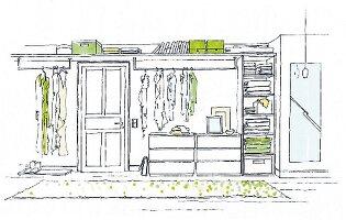 Illustration: Kleiderschrank aus einzelnen Schrankelementen