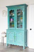 Refurbished, shabby-chic turquoise dresser
