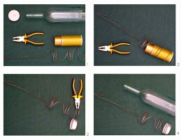 Instructions for making a candle lantern from a glass bottle and coiled wire