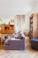 Living room with herringbone parquet floor