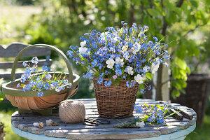 Myosotis and viola cornuta bouquet