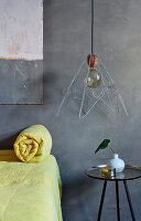 Lampshade hand-made from wire coathangers
