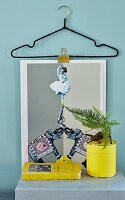 Picture holder hand-made from wire coathangers