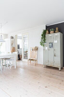 Old locker in spacious dining room with wooden floor