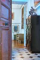 Open door leading into artist's apartment