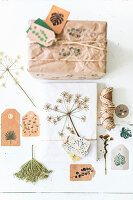 Gift wrap idea using botanical motifs