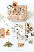 Gift wrap idea using botanical motifs