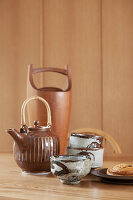 Retro-style ceramic cups and teapot