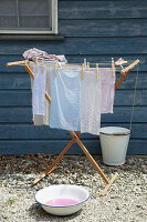 Hand-dyed fabrics on clothes horse