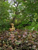 Büste unter Baum in dicht bewachsenem Garten