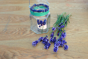 Handmade candle lantern decorated with scented lavender