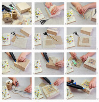 Instructions for decorating box with pressed flowers and ribbon