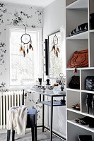 Dressing table in grey and white dressing room