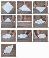 Instructions for folding napkins