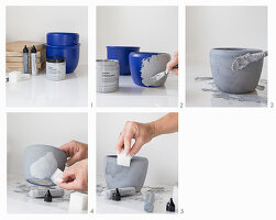 Instructions for painting cache pots with concrete paint