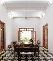 Chequered floor in exotic living room