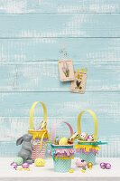 Easter baskets hand-made from paper cups with fringed trim