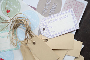 Various paper gift tags