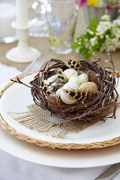 Speckled eggs and feathers in Easter nest decorating table