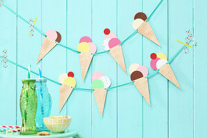 Hand-made garland of paper ice cream cones
