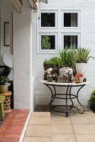 Plants in stone pots on table with curved metal frame