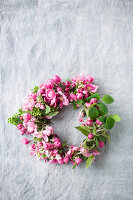 Wreath of crab apple blossom