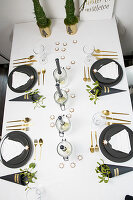 Handmade decorations on festively set table