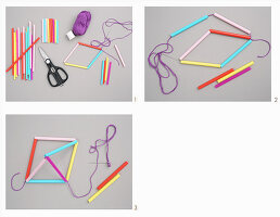 Instructions for making a mobile from drinking straws