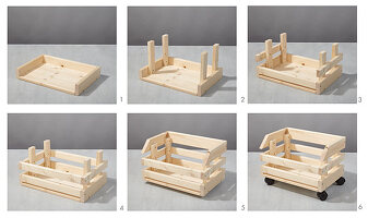 Instructions for assembling vegetable rack from stacked crates