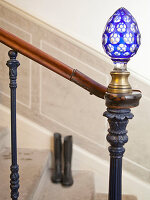 Newel post with antique glass newel cap