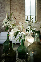 White lilies in white and green demijohns
