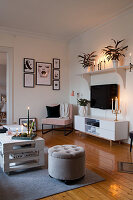 Bohemian-style living room with arrangements of candles