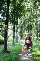 Women from behind, walking in the forest with picnic stuff, Autumn mood